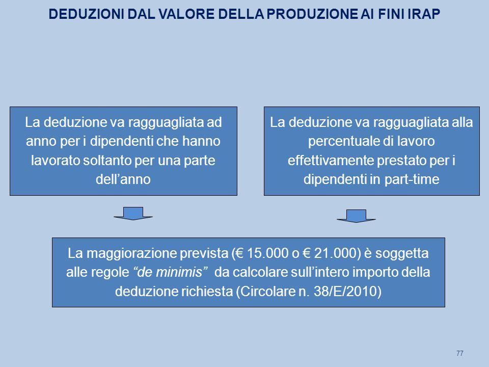 77 La deduzione va ragguagliata ad anno per i dipendenti che hanno lavorato soltanto per una parte dell'anno La deduzione va ragguagliata alla percentuale di lavoro effettivamente prestato per i dipendenti in part-time DEDUZIONI DAL VALORE DELLA PRODUZIONE AI FINI IRAP La maggiorazione prevista (€ 15.000 o € 21.000) è soggetta alle regole de minimis da calcolare sull'intero importo della deduzione richiesta (Circolare n.