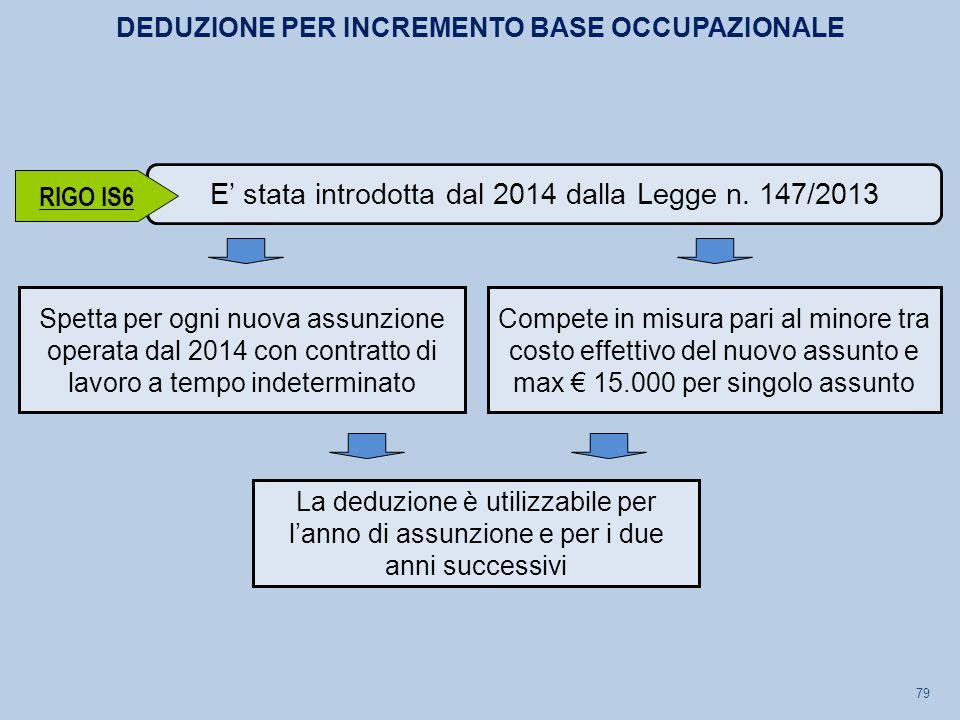 79 Spetta per ogni nuova assunzione operata dal 2014 con contratto di lavoro a tempo indeterminato E' stata introdotta dal 2014 dalla Legge n. 147/201