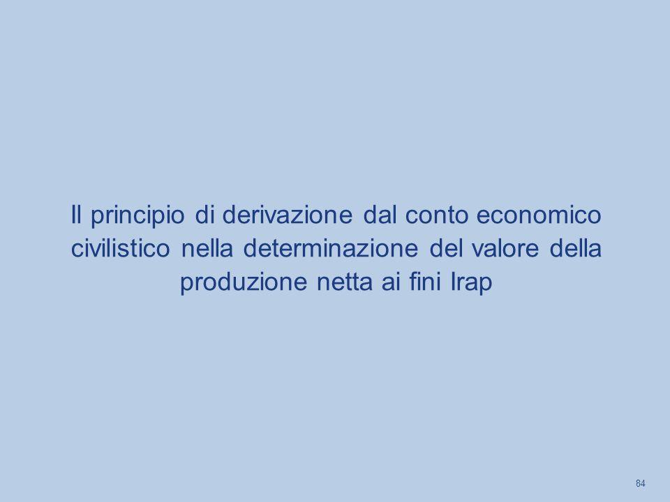 Il principio di derivazione dal conto economico civilistico nella determinazione del valore della produzione netta ai fini Irap 84