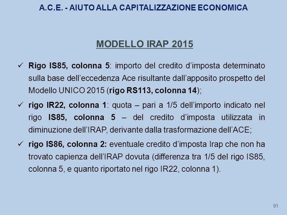 91 MODELLO IRAP 2015 Rigo IS85, colonna 5: importo del credito d'imposta determinato sulla base dell'eccedenza Ace risultante dall'apposito prospetto