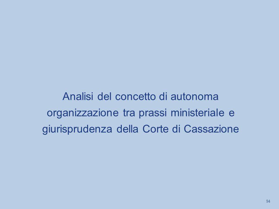 Analisi del concetto di autonoma organizzazione tra prassi ministeriale e giurisprudenza della Corte di Cassazione 94