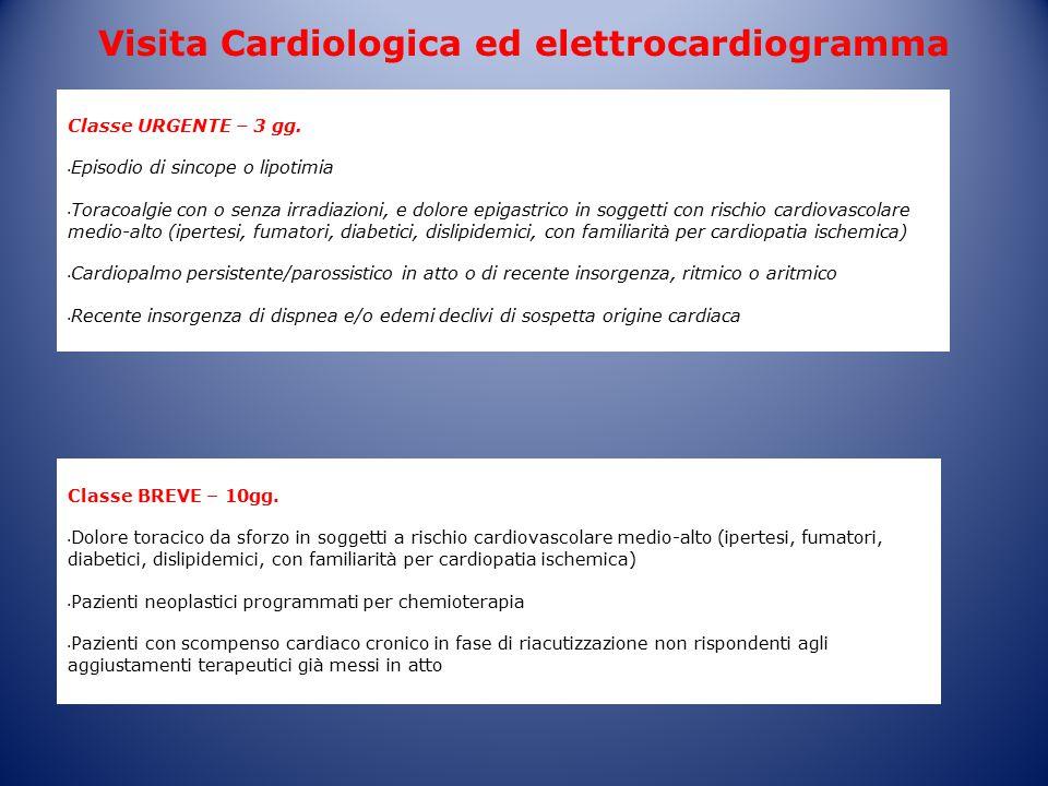 Classe URGENTE – 3 gg. Episodio di sincope o lipotimia Toracoalgie con o senza irradiazioni, e dolore epigastrico in soggetti con rischio cardiovascol