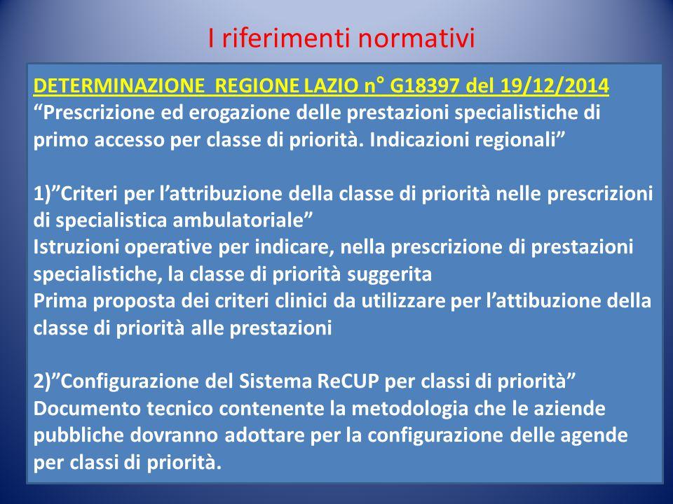 """I riferimenti normativi DETERMINAZIONE REGIONE LAZIO n° G18397 del 19/12/2014 """"Prescrizione ed erogazione delle prestazioni specialistiche di primo ac"""