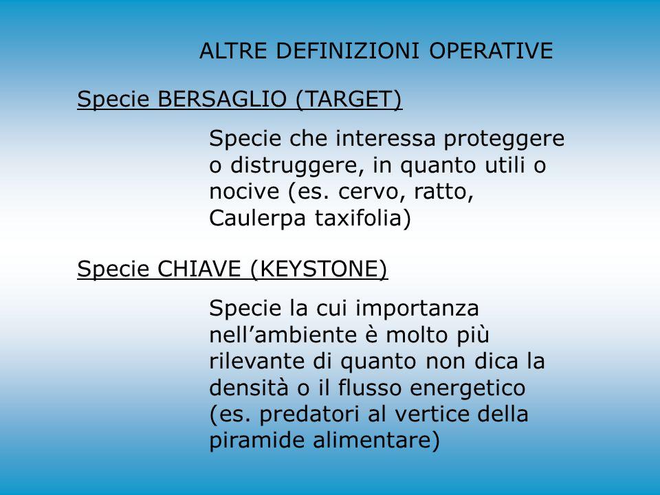 ALTRE DEFINIZIONI OPERATIVE Specie BERSAGLIO (TARGET) Specie che interessa proteggere o distruggere, in quanto utili o nocive (es. cervo, ratto, Caule