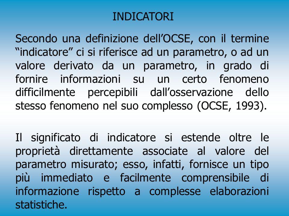 Secondo una definizione dell'OCSE, con il termine indicatore ci si riferisce ad un parametro, o ad un valore derivato da un parametro, in grado di fornire informazioni su un certo fenomeno difficilmente percepibili dall'osservazione dello stesso fenomeno nel suo complesso (OCSE, 1993).