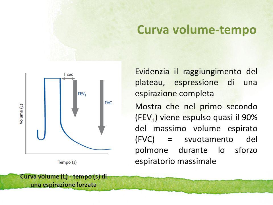 Curva volume-tempo Evidenzia il raggiungimento del plateau, espressione di una espirazione completa Mostra che nel primo secondo (FEV 1 ) viene espuls