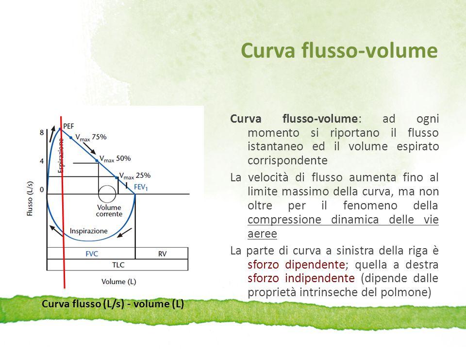 Curva flusso-volume Curva flusso-volume: ad ogni momento si riportano il flusso istantaneo ed il volume espirato corrispondente La velocità di flusso