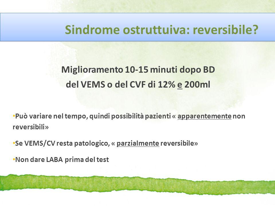 Sindrome ostruttuiva: reversibile? Miglioramento 10-15 minuti dopo BD del VEMS o del CVF di 12% e 200ml Può variare nel tempo, quindi possibilità pazi