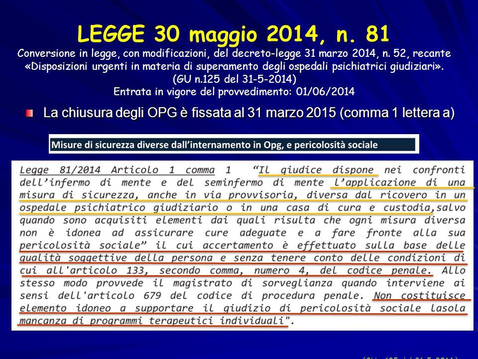 (GU n.125 del 31-5-2014 ) LEGGE 30 maggio 2014, n. 81 Conversione in legge, con modificazioni, del decreto-legge 31 marzo 2014, n. 52, recante «Dispos