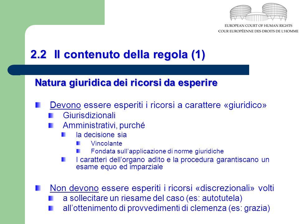 2.2 Il contenuto della regola (1) Natura giuridica dei ricorsi da esperire Devono essere esperiti i ricorsi a carattere «giuridico» Giurisdizionali Am