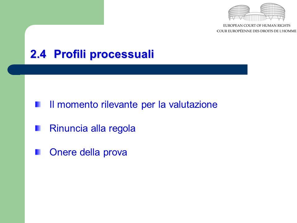 2.4Profili processuali Il momento rilevante per la valutazione Rinuncia alla regola Onere della prova