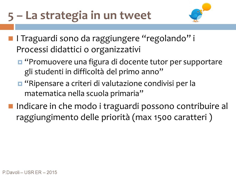 """5 – La strategia in un tweet P.Davoli – USR ER – 2015 I Traguardi sono da raggiungere """"regolando"""" i Processi didattici o organizzativi  """"Promuovere u"""