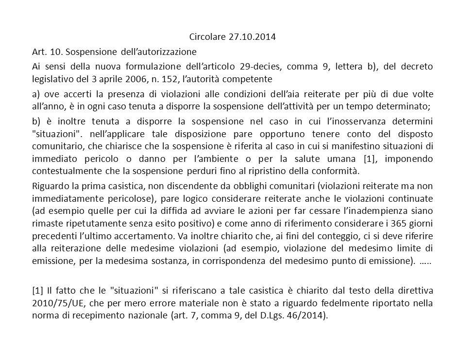 Circolare 27.10.2014 Art. 10. Sospensione dell'autorizzazione Ai sensi della nuova formulazione dell'articolo 29-decies, comma 9, lettera b), del decr
