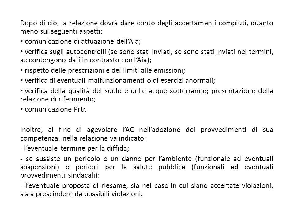 Dopo di ciò, la relazione dovrà dare conto degli accertamenti compiuti, quanto meno sui seguenti aspetti: comunicazione di attuazione dell'Aia; verifi