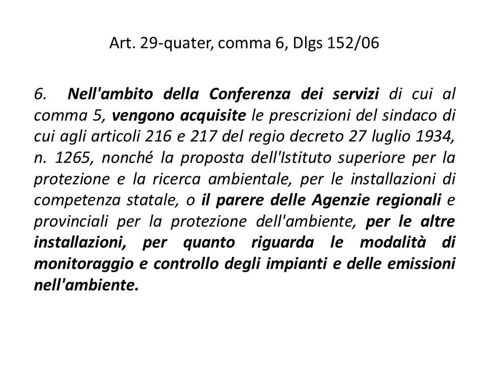 Art. 29-quater, comma 6, Dlgs 152/06 6. Nell'ambito della Conferenza dei servizi di cui al comma 5, vengono acquisite le prescrizioni del sindaco di c