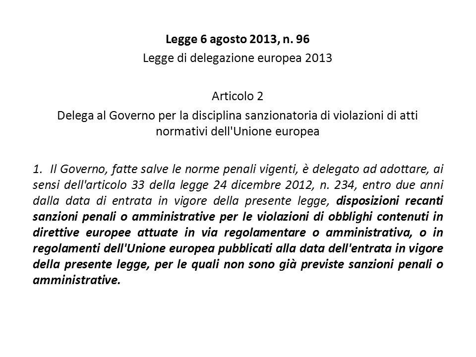 Legge 6 agosto 2013, n. 96 Legge di delegazione europea 2013 Articolo 2 Delega al Governo per la disciplina sanzionatoria di violazioni di atti normat