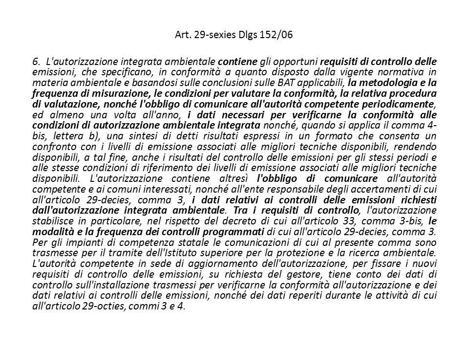 Art. 29-sexies Dlgs 152/06 6. L'autorizzazione integrata ambientale contiene gli opportuni requisiti di controllo delle emissioni, che specificano, in