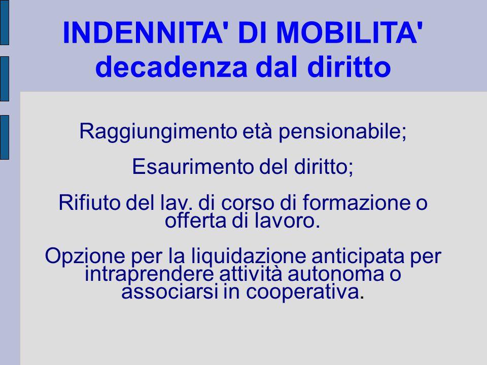 INDENNITA DI MOBILITA decadenza dal diritto Raggiungimento età pensionabile; Esaurimento del diritto; Rifiuto del lav.