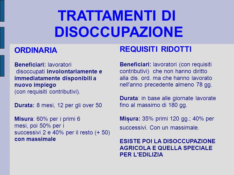 TRATTAMENTI DI DISOCCUPAZIONE ORDINARIA Beneficiari: lavoratori disoccupati involontariamente e immediatamente disponibili a nuovo impiego (con requisiti contributivi).