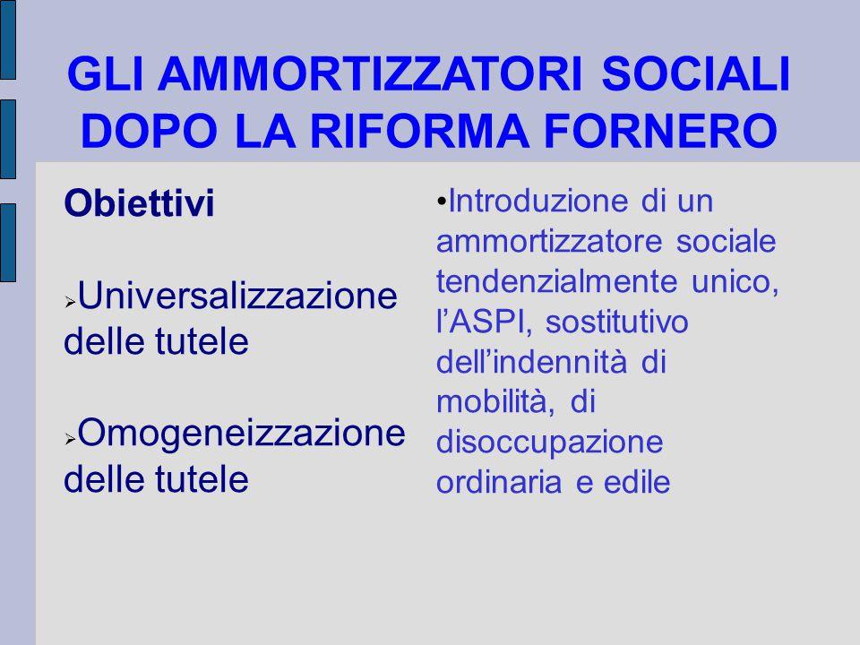 GLI AMMORTIZZATORI SOCIALI DOPO LA RIFORMA FORNERO Obiettivi  Universalizzazione delle tutele  Omogeneizzazione delle tutele Introduzione di un ammortizzatore sociale tendenzialmente unico, l'ASPI, sostitutivo dell'indennità di mobilità, di disoccupazione ordinaria e edile