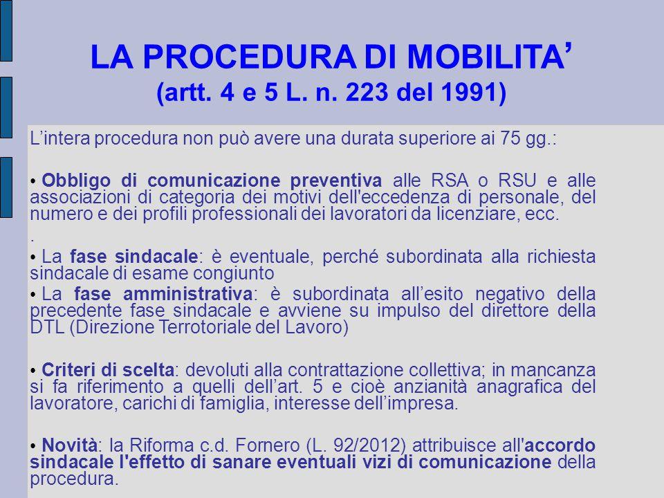 LA PROCEDURA DI MOBILITA ' (artt.4 e 5 L. n.