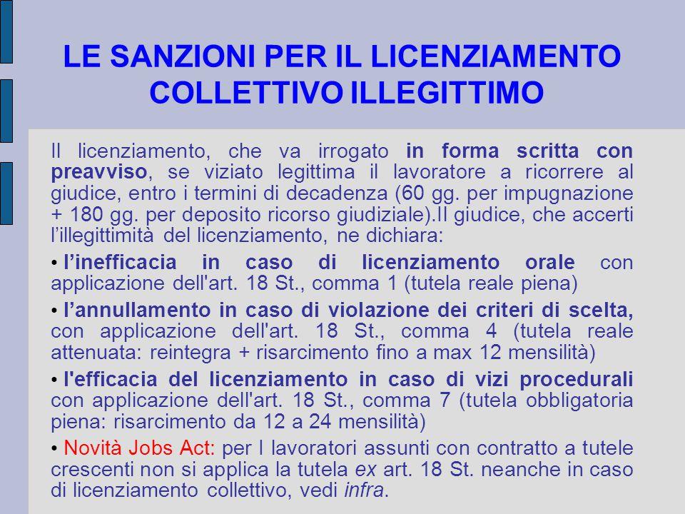 10 JOBS ACT: IL CONTRATTO A TUTELE CRESCENTI LICENZIAMENTI COLLETTIVI In caso di licenziamento collettivo ai sensi degli articoli 4 e 24 della legge 23 luglio 1991, n.