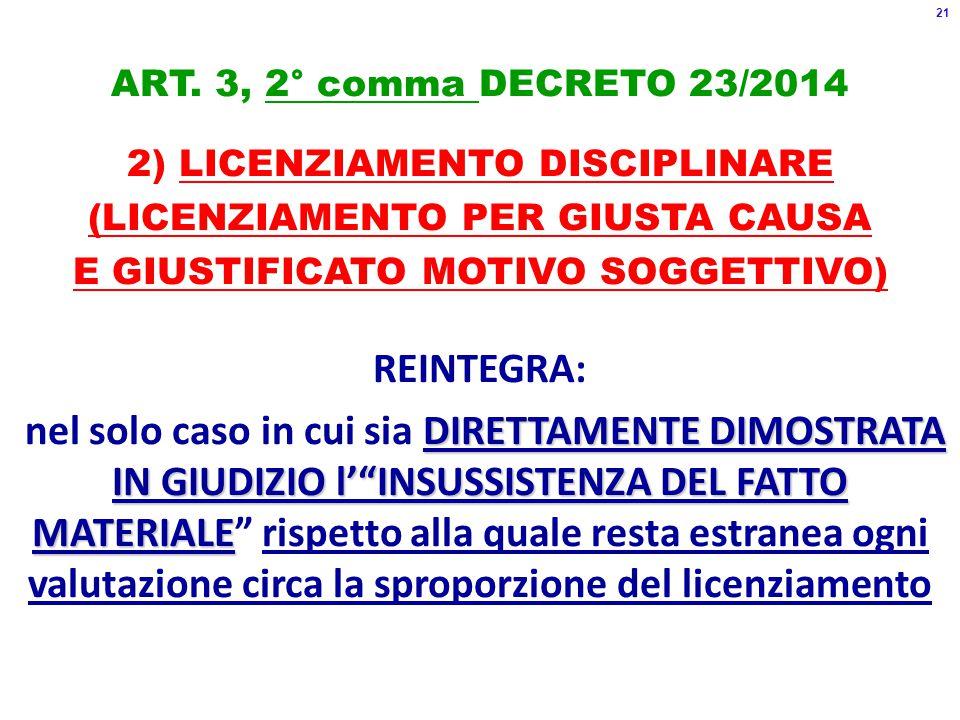 ART. 3, 2° comma DECRETO 23/2014 2) LICENZIAMENTO DISCIPLINARE (LICENZIAMENTO PER GIUSTA CAUSA E GIUSTIFICATO MOTIVO SOGGETTIVO) REINTEGRA: DIRETTAMEN