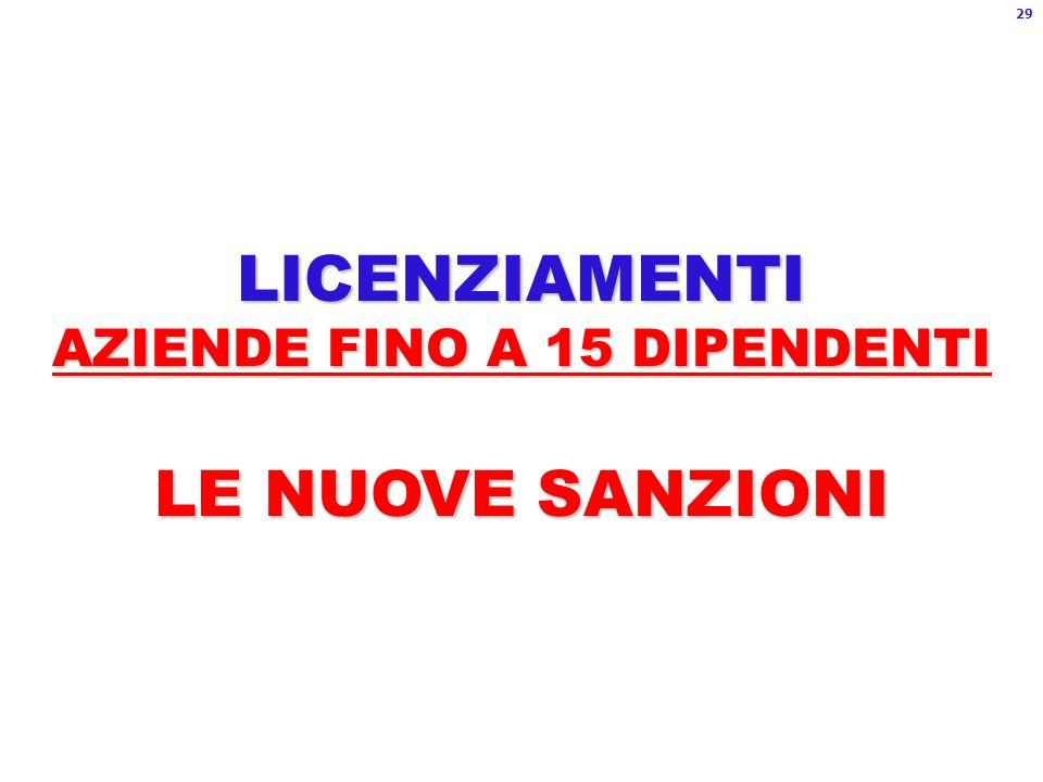 LICENZIAMENTI AZIENDE FINO A 15 DIPENDENTI LE NUOVE SANZIONI 29