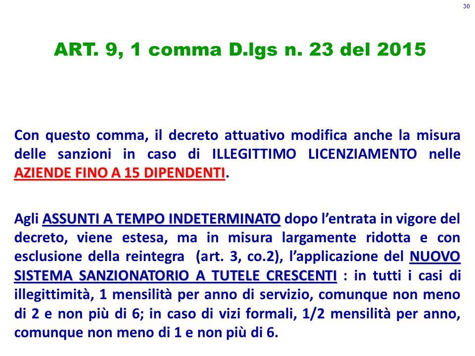ART.9, 1 comma D.lgs n.