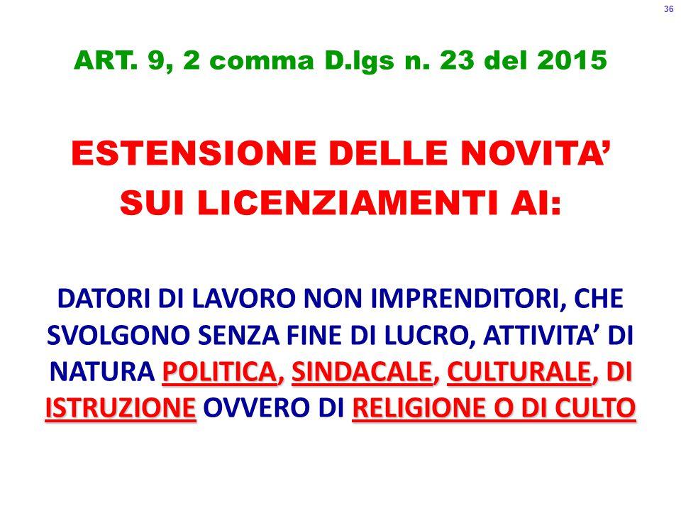 ART. 9, 2 comma D.lgs n.