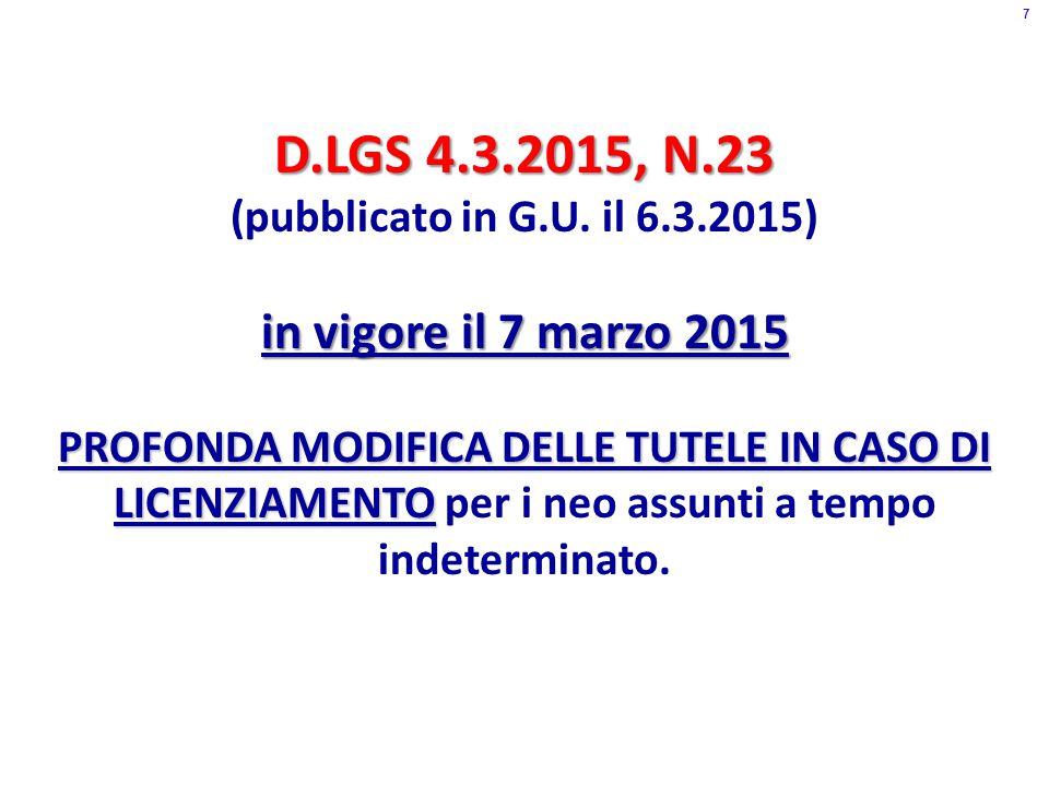 D.LGS 4.3.2015, N.23 (pubblicato in G.U.