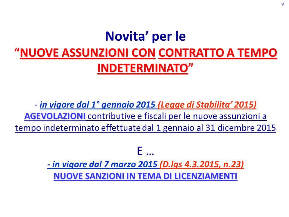 NUOVE ASSUNZIONI CONCONTRATTO A TEMPO INDETERMINATO Novita' per le NUOVE ASSUNZIONI CON CONTRATTO A TEMPO INDETERMINATO AGEVOLAZIONI NUOVE SANZIONI IN TEMA DI LICENZIAMENTI … - in vigore dal 1° gennaio 2015 (Legge di Stabilita' 2015) AGEVOLAZIONI contributive e fiscali per le nuove assunzioni a tempo indeterminato effettuate dal 1 gennaio al 31 dicembre 2015 E … - in vigore dal 7 marzo 2015 (D.lgs 4.3.2015, n.23) NUOVE SANZIONI IN TEMA DI LICENZIAMENTI 9