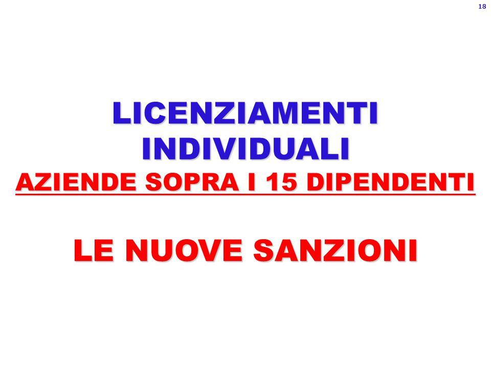 LICENZIAMENTI INDIVIDUALI AZIENDE SOPRA I 15 DIPENDENTI LE NUOVE SANZIONI 18