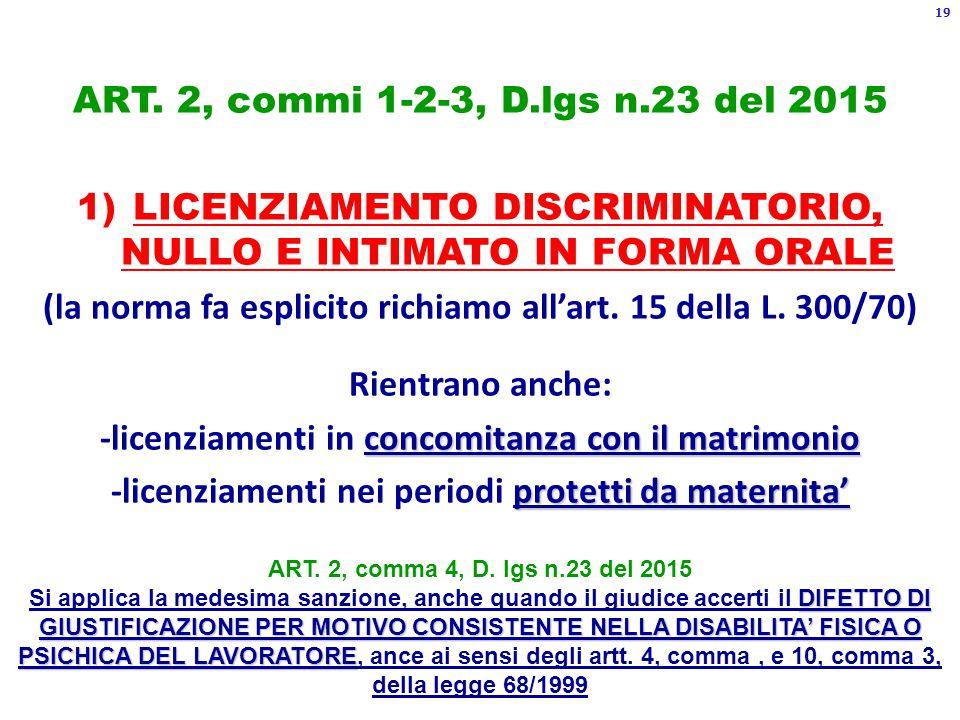 ART. 2, commi 1-2-3, D.lgs n.23 del 2015 1)LICENZIAMENTO DISCRIMINATORIO, NULLO E INTIMATO IN FORMA ORALE (la norma fa esplicito richiamo all'art. 15