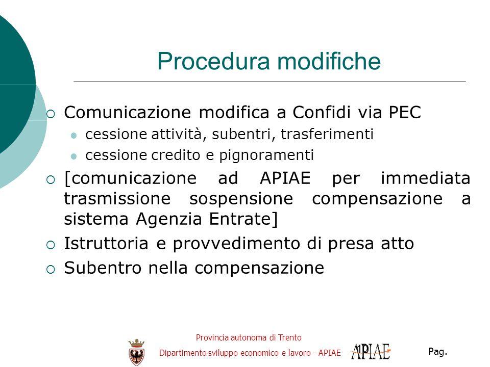 Provincia autonoma di Trento Dipartimento sviluppo economico e lavoro - APIAE Pag. 10 Procedura modifiche  Comunicazione modifica a Confidi via PEC c