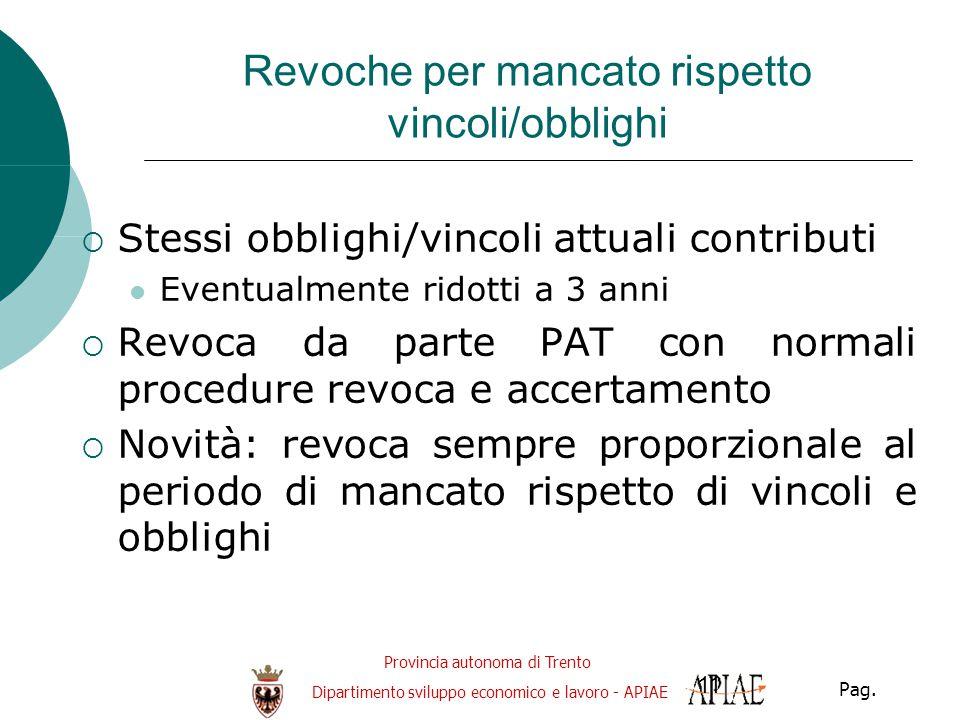 Provincia autonoma di Trento Dipartimento sviluppo economico e lavoro - APIAE Pag. 11 Revoche per mancato rispetto vincoli/obblighi  Stessi obblighi/