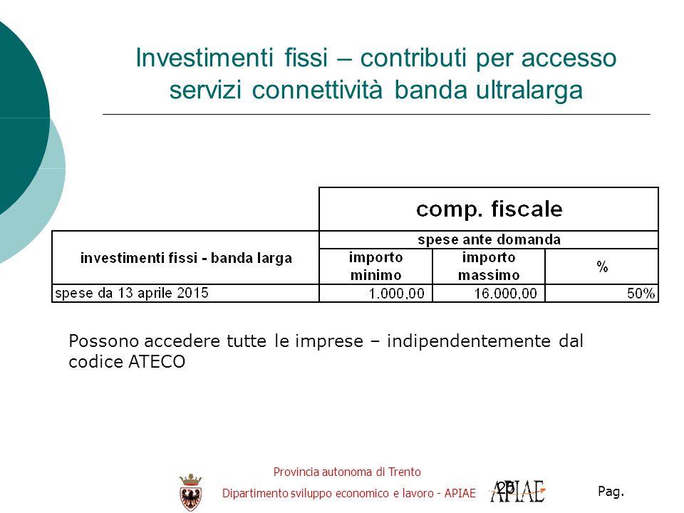 Provincia autonoma di Trento Dipartimento sviluppo economico e lavoro - APIAE Pag. 25 Investimenti fissi – contributi per accesso servizi connettività