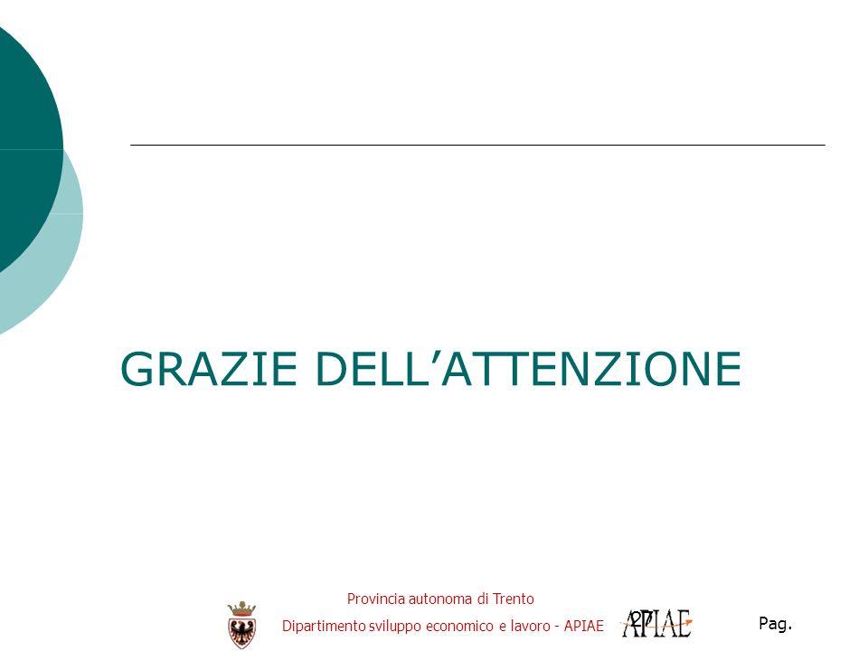 Provincia autonoma di Trento Dipartimento sviluppo economico e lavoro - APIAE Pag. 27 GRAZIE DELL'ATTENZIONE