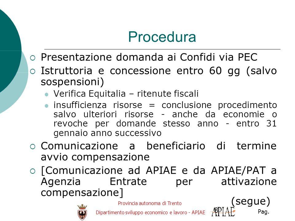 Provincia autonoma di Trento Dipartimento sviluppo economico e lavoro - APIAE Pag. 8 Procedura  Presentazione domanda ai Confidi via PEC  Istruttori