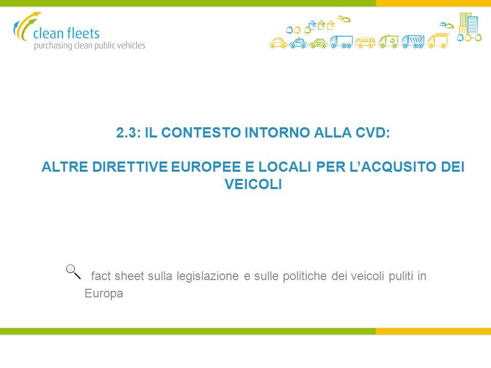 2.3: IL CONTESTO INTORNO ALLA CVD: ALTRE DIRETTIVE EUROPEE E LOCALI PER L'ACQUSITO DEI VEICOLI.