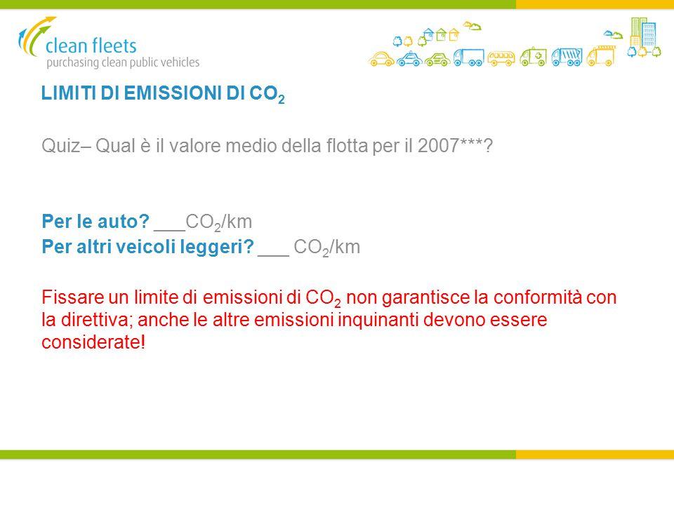 LIMITI DI EMISSIONI DI CO 2 Quiz– Qual è il valore medio della flotta per il 2007***.