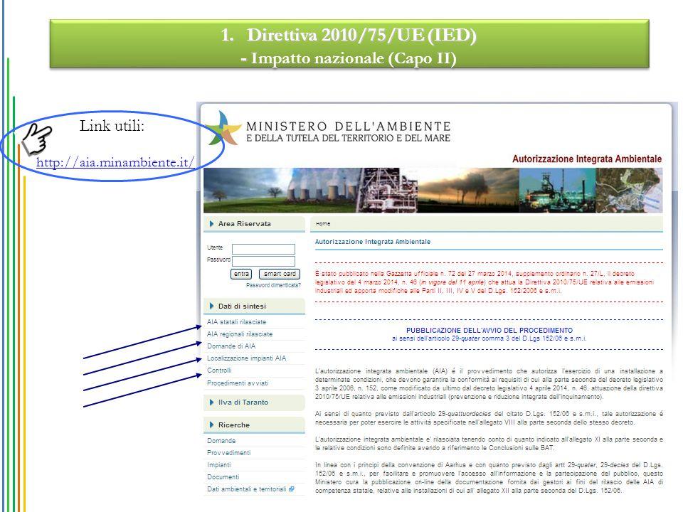 http://aia.minambiente.it/ 1.Direttiva 2010/75/UE (IED) - - Impatto nazionale (Capo II) 1.Direttiva 2010/75/UE (IED) - - Impatto nazionale (Capo II) Link utili: