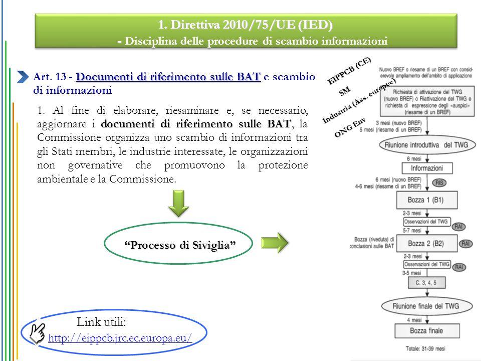 documenti di riferimento sulle BAT 1. Al fine di elaborare, riesaminare e, se necessario, aggiornare i documenti di riferimento sulle BAT, la Commissi