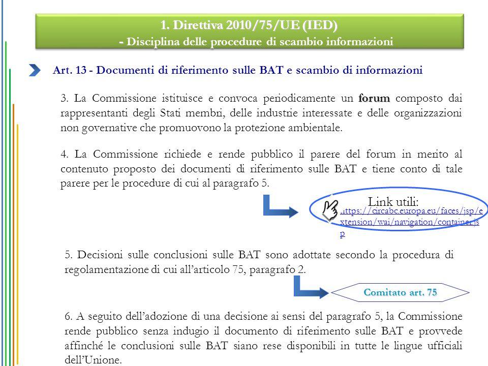 Art. 13 - Documenti di riferimento sulle BAT e scambio di informazioni forum 3. La Commissione istituisce e convoca periodicamente un forum composto d