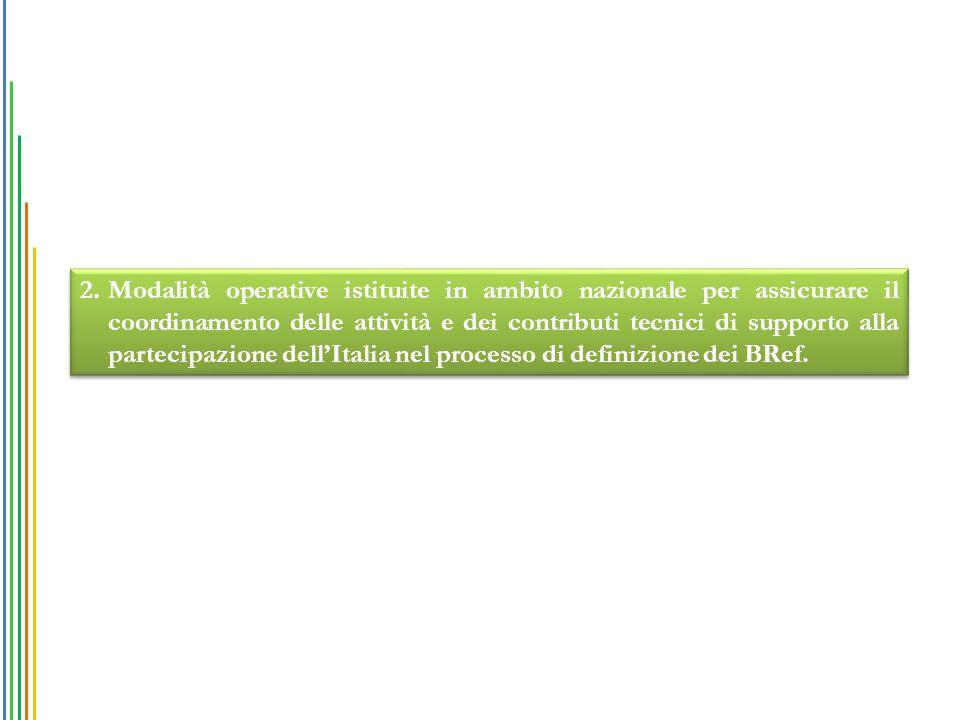 2.Modalità operative istituite in ambito nazionale per assicurare il coordinamento delle attività e dei contributi tecnici di supporto alla partecipazione dell'Italia nel processo di definizione dei BRef.