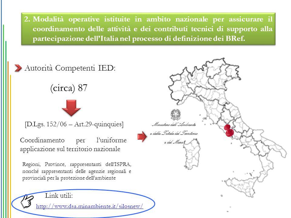 Coordinamento per l'uniforme applicazione sul territorio nazionale Autorità Competenti IED: (circa) 87 Ministero dell'Ambiente e della Tutela del Terr