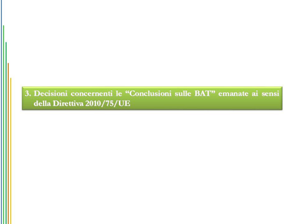 """3.Decisioni concernenti le """"Conclusioni sulle BAT"""" emanate ai sensi della Direttiva 2010/75/UE"""