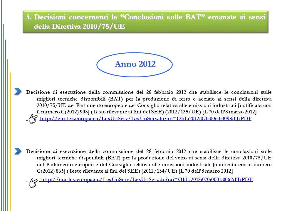 Decisione di esecuzione della commissione del 28 febbraio 2012 che stabilisce le conclusioni sulle migliori tecniche disponibili (BAT) per la produzione di ferro e acciaio ai sensi della direttiva 2010/75/UE del Parlamento europeo e del Consiglio relativa alle emissioni industriali [notificata con il numero C(2012) 903] (Testo rilevante ai fini del SEE) (2012/135/UE) [L 70 dell'8 marzo 2012] http://eur-lex.europa.eu/LexUriServ/LexUriServ.do?uri=OJ:L:2012:070:0063:0098:IT:PDF Decisione di esecuzione della commissione del 28 febbraio 2012 che stabilisce le conclusioni sulle migliori tecniche disponibili (BAT) per la produzione del vetro ai sensi della direttiva 2010/75/UE del Parlamento europeo e del Consiglio relativa alle emissioni industriali [notificata con il numero C(2012) 865] (Testo rilevante ai fini del SEE) (2012/134/UE) [L 70 dell'8 marzo 2012] http://eur-lex.europa.eu/LexUriServ/LexUriServ.do?uri=OJ:L:2012:070:0001:0062:IT:PDF Anno 2012 3.Decisioni concernenti le Conclusioni sulle BAT emanate ai sensi della Direttiva 2010/75/UE