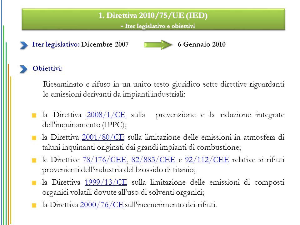 1. Direttiva 2010/75/UE (IED) - Iter legislativo e obiettivi - Iter legislativo e obiettivi 1. Direttiva 2010/75/UE (IED) - Iter legislativo e obietti