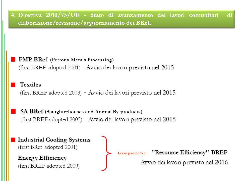 FMP BRef FMP BRef (Ferrous Metals Processing) Avvioprevisto nel 2015 (first BREF adopted 2001) - Avvio dei lavori previsto nel 2015 Textiles Avvioprevisto nel 2015 (first BREF adopted 2003) - Avvio dei lavori previsto nel 2015 SA BRef SA BRef (Slaughterhouses and Animal By-products) Avvioprevisto nel 2015 (first BREF adopted 2005) - Avvio dei lavori previsto nel 2015 4.Direttiva 2010/75/UE - Stato di avanzamento dei lavori comunitari di elaborazione/revisione/aggiornamento dei BRef.